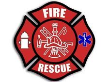 4x4 inch FIRE RESCUE Maltese Cross Sticker - decal fire firefighter fireman emt