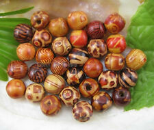 20pcs 12MM Mixed pattern Hand painted wood oval loose beads DIY Findings