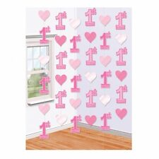 Party Baby Pink Girl Girls First Birthday - Age 1 -Room String Decoration 679604