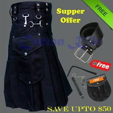 Black Cargo Custom made cotton kilt with Free Leather Belt and Sporran