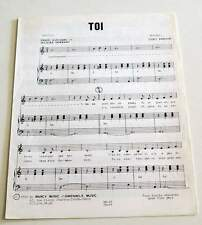 Partition vintage sheet music DANIEL GUICHARD : Toi * 70's