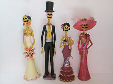 4 CATRINA SET  mexican folk art   day of the dead  catrinas  wholesale lot 15""