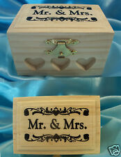 MR & MRS Wedding Bridal Ring Bearer Pillow WOOD Box HEARTS Burlap Shabby Boho