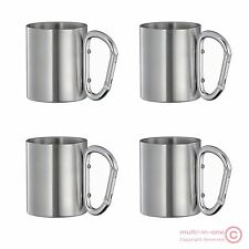 lot 4pcs carabiner hook travel cups,double wall stainless steel children mug