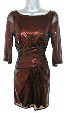 Warehouse Spotlight Copper Sequin Embellished Evening Occasion Dress Size 10