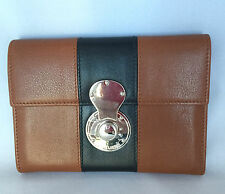 Ralph Lauren Purple Label Brown /Navy Wallet with Ricky Lock NWT $525