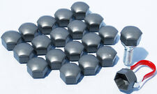 Pack of 20 Grey caps 19mm Hex alloy wheel nuts lugs bolts covers. Ford Focus
