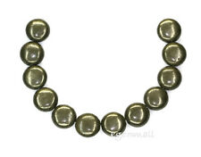 12 Pyrite Flat Round Coin Beads 14mm  #85140