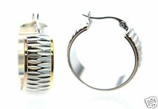 Steel by Design Tri-Tone Diamond Cut Wide Hoop Earrings '