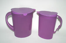 TUPPERWARE  1 Gallon 2QT Impressions Beverage Refrigerator Pitcher Set Purple