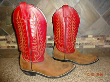 Youth/Child/Kids Sz 4.5D Tony Lama #140Y Brown/Red Leather Cowboy Boots GREAT