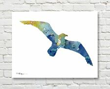 Seagull Abstract Watercolor Painting Art Print by Artist DJ Rogers