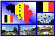 BELGIUM MAP / FLAG - SOUVENIR NOVELTY FRIDGE MAGNET - NEW - GIFT