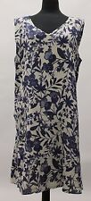 UNDERFLAX 2015 LINEN DREAMY DRESS TANK TUNIC BLUE FLORAL PRINTS LARGE 14 - 16