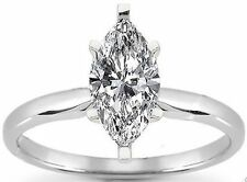 1.50 carat Marquise Cut Diamond Solitaire Wedding Ring E color SI2  14K GOLD