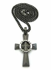 MENS VERITAS AEQUITAS CROSS BOONDOCK SAINTS PENDANT CHARM CUBAN CHAIN NECKLACE