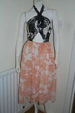 RIVER ISLAND Peach Floral Halterneck Midi Tutu Wedding Party Dress UK 6 BNWT
