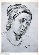 1968 card sketch to the painting MOTHER by Russian painter K.Petrov-Vodkin