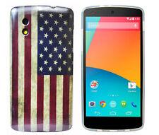 TPU Schutzhüllle f Google Nexus 5 Case Cover Tasche Etui USA Amerika Flagge