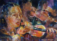 "STUNNING SERA KNIGHT S.W.A ORIGINAL ""The Violins"" Violinists Orchestra PAINTING"