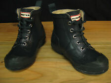 HUNTER Dark Navy Blue Boys or Girls Lace Up Ankle Rain Boots Size 28 10 B 12 G