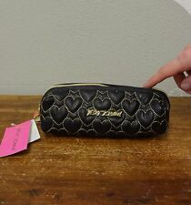 BETSEY JOHNSON Black Quilted Hearts Gold PENCIL CASE Cosmetic Travel Bag