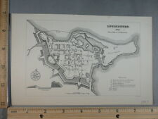 Rare Antique Original VTG 1907 R Gridley Louisbourg 1745 Map Illustration Print