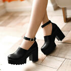 Womens Creeper Buckle Shoes Ankle Strap High Chunky Heels Platform Pumps AU Size