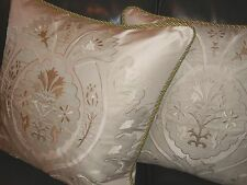 Schumacher Throw pillows embroidered fabric Marisa Silk Applique custom new PAIR