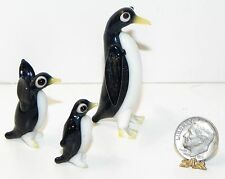 Vintage Miniature Glass Penguin Family Set 3 Mom Dad and Baby