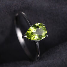 1.3ct Gorgeous Genuine Pear Peridot Solid Sterling Silver Ring Size 6 Ladies
