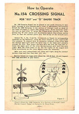 VTG Lionel 154 Crossing Signal Instructions Sheet 1950 Form 154-20 2-50 NDEX N