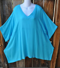 """ART TO WEAR 210 LAGENLOOK TUNIC IN SOLID TURQUOISE BY MISSION CANYON, 54""""B, OS+!"""
