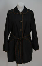 WOMENS DENNIS BASO THIN JACKET COAT TRENCH BELTED BLACK SIZE L LARGE MINT
