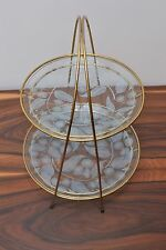Gorgeous 50s Mid Century Vintage Chance Glass 'Calypto' 2 Tier Cake Stand