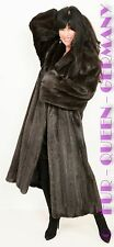EUR size XL AMAZING anthracite/brown SAGA MINK ROYAL FUR COAT A-LINE FULL LENGHT