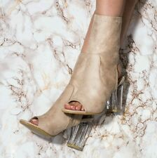 Nude Beige Faux Suede Peep Top Perspex Heeled Boots - Size 3uk