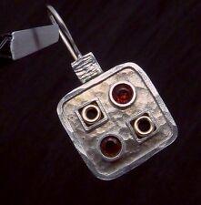 Vintage Sterling Silver 14K Gold Garnet Modernist Pierced Earrings 22751