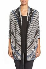 NWT NIC + ZOE WOMEN SzM DASHING FRINGE FRONT CARDIGAN SWEATER IN MULTI $158.