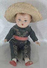 Vintage Collectible Composition Mexican Boy Doll Original Outfit with Sombrero