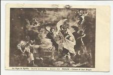 antica cartolina di  la fuga in egitto scuola lombarda monza