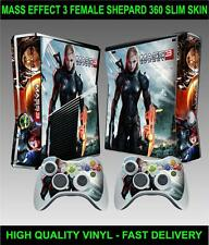 XBOX 360 SLIM CONSOLE STICKER MASS EFFECT 3 FEMALE SHEPARD SKIN  & 2 PAD SKINS