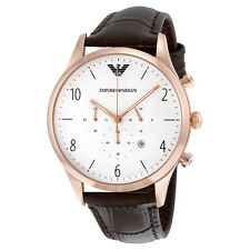 Armani White Dial Chronograph Leather Mens Watch AR1916