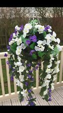 Beautiful Artificial  Ivory/purple Trailing Hanging Basket