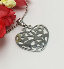 1Pc Fashion Stainless Steel Silver Hollow   Heart-shaped Pendant Necklace New