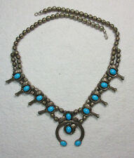 NATIVE AMERICAN DINO STERLING SILVER & TURQUOISE SQUASH BLOSSOM NECKLACE JEWELRY