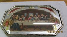 VINTAGE ANTIQUE THE LAST SUPPER CHRISTIANITY JESUS PHOTO IN METAL  FRAME