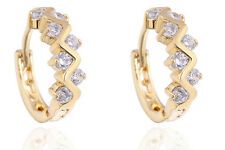 18 k Gold Plated Wave Earrings for Small Girls Women White Zircons Hoops  E714