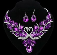 NEW Purple Amethyst Swan Crystal Necklace Earring Wedding Party Prom Dress Set