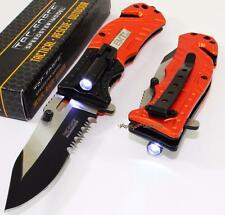 TAC-FORCE EMT EMS Rescue Serrated LED Light Spring Assisted Folding Pocket Knife